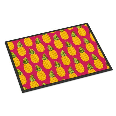 Pineapples Indoor/Outdoor Doormat Color: Pink