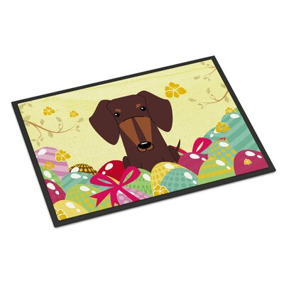 Easter Eggs Dachshund Indoor/Outdoor Doormat Color: Chocolate