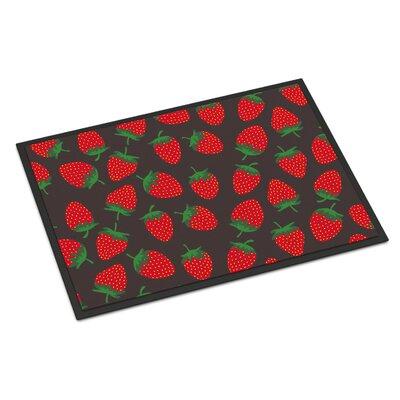 Strawberries Indoor/Outdoor Doormat Color: Gray