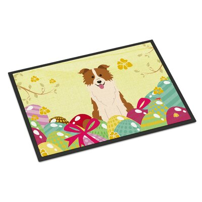 Easter Eggs Border Collie Indoor/Outdoor Doormat Color: Red