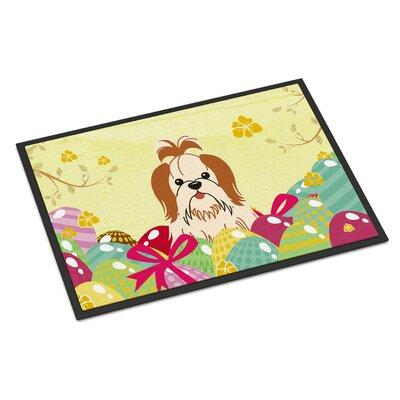 Easter Eggs Shih Tzu Indoor/Outdoor Doormat Color: Red/White