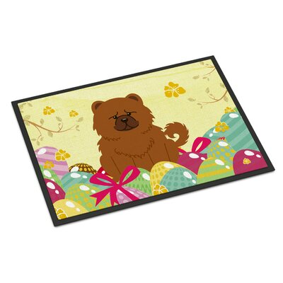 Easter Eggs Chow Chow Indoor/Outdoor Doormat Color: Red