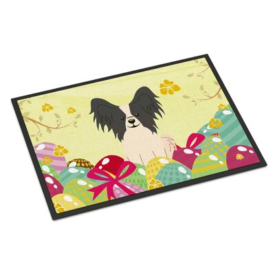 Easter Eggs Papillon Indoor/Outdoor Doormat Color: Black