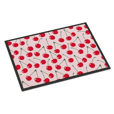 Cherries Indoor/Outdoor Doormat Color: Pink