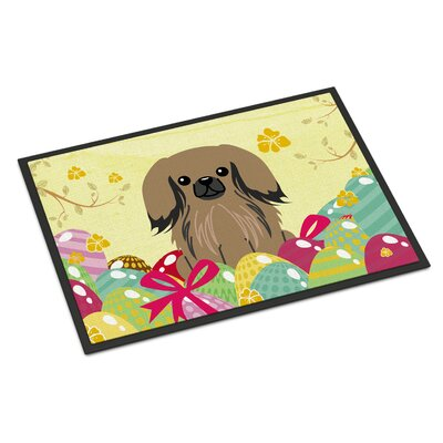 Easter Eggs Pekingnese Indoor/Outdoor Doormat Color: Tan