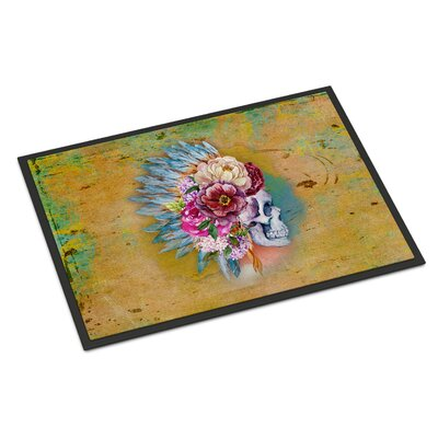 Flowers Rectangle Skull Indoor/Outdoor Doormat