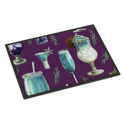 Drinks and Cocktails Indoor/Outdoor Doormat Color: Purple