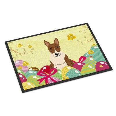 Easter Eggs Bull Terrier Indoor/Outdoor Doormat Color: Light Brown