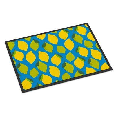 Lemons and Limes Indoor/Outdoor Doormat Color: Blue