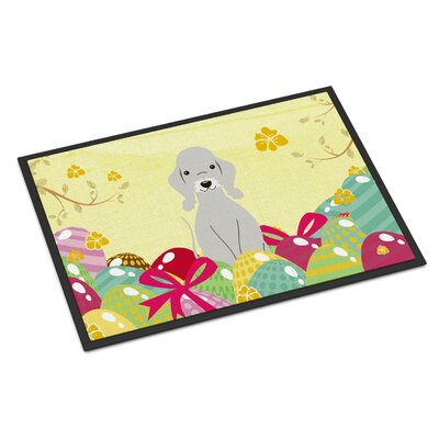 Easter Eggs Bedlington Terrier Indoor/Outdoor Doormat Color: Blue