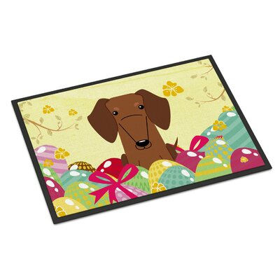 Easter Eggs Dachshund Indoor/Outdoor Doormat Color: Red/Brown