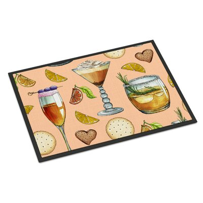 Drinks and Cocktails Indoor/Outdoor Doormat Color: Peach