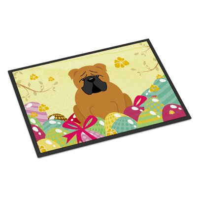 Easter Eggs English Bulldog Indoor/Outdoor Doormat Color: Red