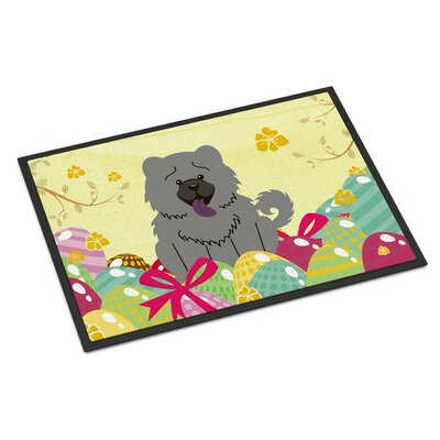 Easter Eggs Chow Chow Indoor/Outdoor Doormat Color: Blue