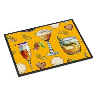 Drinks and Cocktails Indoor/Outdoor Doormat Color: Gold