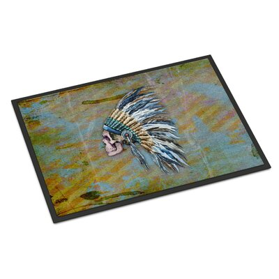 Indian Chief Skull Indoor/Outdoor Doormat