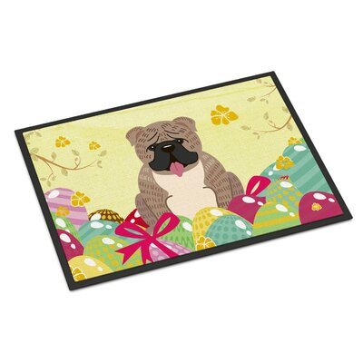 Easter Eggs English Bulldog Indoor/Outdoor Doormat Color: Gray