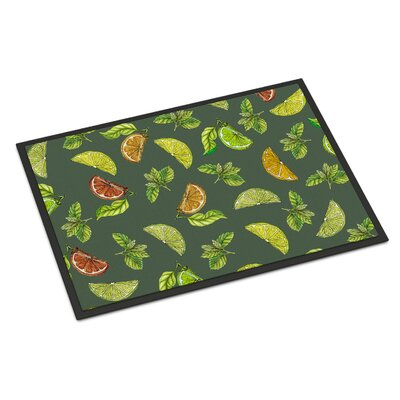 Lemons, Limes and Oranges Indoor/Outdoor Doormat Color: Dark Green