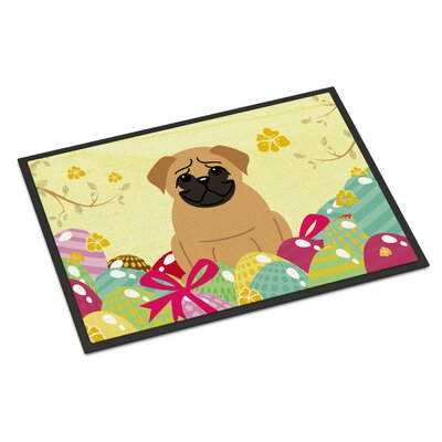 Easter Eggs Pug Indoor/Outdoor Doormat Color: Brown