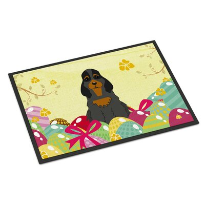 Easter Eggs Cocker Spaniel Indoor/Outdoor Doormat Color: Black/Tan
