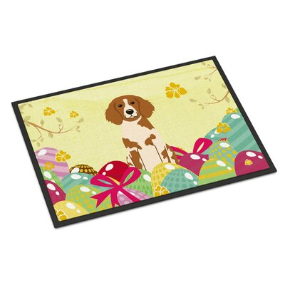 Easter Eggs Brittany Spaniel Indoor/Outdoor Doormat