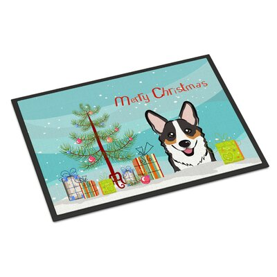 Christmas Tree Corgi Doormat Rug Size: 2 x 3, Color: Gray/White/Brown