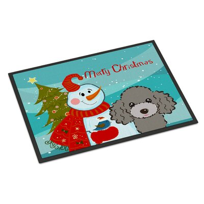 Snowman Poodle Doormat Mat Size: 2 x 3, Color: Chocolate Brown