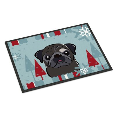 Winter Holiday Pug Doormat Mat Size: 16 x 23, Color: Fawn