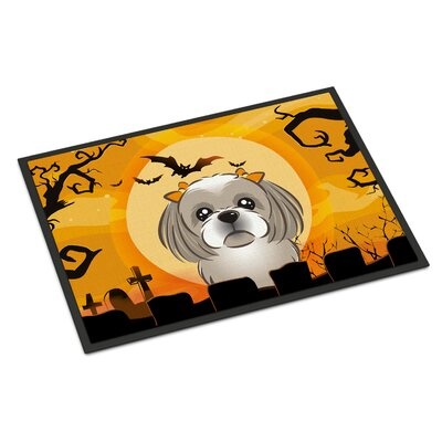 Halloween Shih Tzu Doormat Rug Size: 16 x 23, Color: Gray Silver