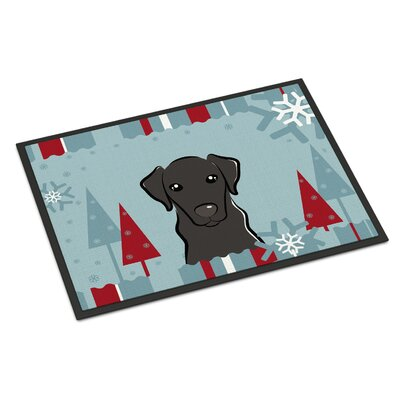 Winter Holiday Labrador Doormat Rug Size: 16 x 23, Color: Black