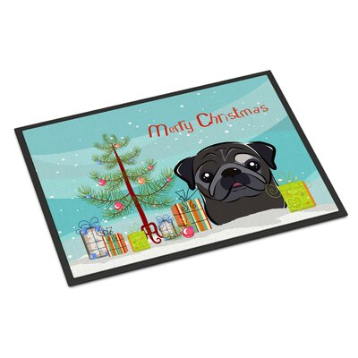 Christmas Tree Pug Doormat Rug Size: 16 x 23, Color: Fawn