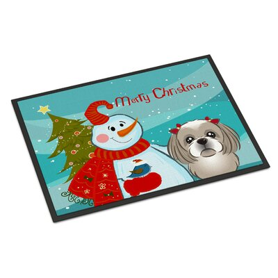 Snowman with Shih Tzu Doormat Rug Size: 2 x 3, Color: Gray Silver