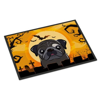 Halloween Pug Doormat Rug Size: 2 x 3, Color: Black