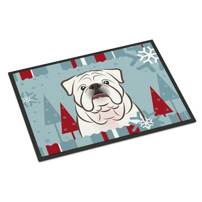 Winter Holiday English Bulldog Doormat Rug Size: 2 x 3, Color: White