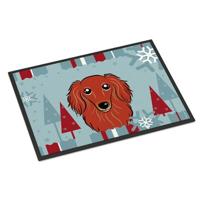 Winter Holiday Longhair Dachshund Doormat Rug Size: 16 x 23, Color: Red