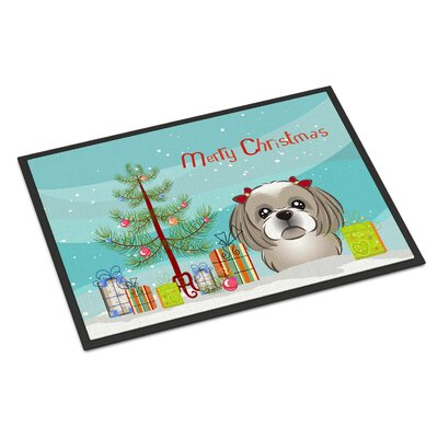 Christmas Tree Shih Tzu Doormat Rug Size: 2 x 3, Color: Gray Silver