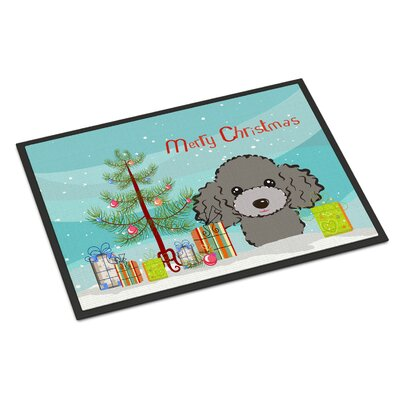 Christmas Tree Poodle Doormat Mat Size: 2 x 3, Color: Silver Gray