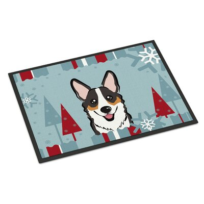 Winter Holiday Corgi Doormat Mat Size: 2 x 3, Color: Gray/White/Brown