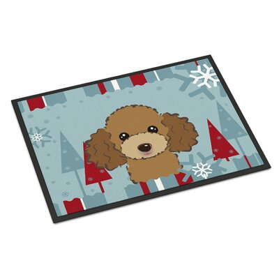 Winter Holiday Poodle Doormat Mat Size: 2 x 3, Color: Chocolate Brown