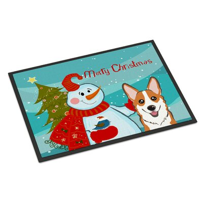 Snowman with Corgi Doormat Mat Size: 2 x 3, Color: Gray/White/Brown