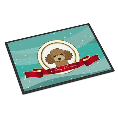 Poodle Merry Christmas Doormat Rug Size: 2 x 3, Color: White