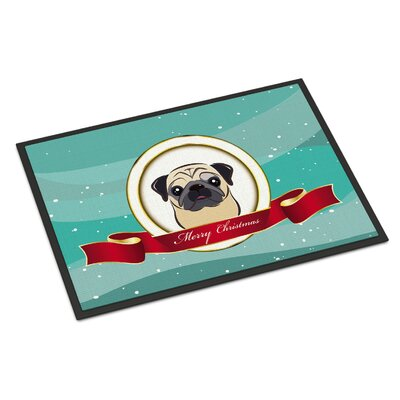 Pug Merry Christmas Doormat Color: Fawn, Rug Size: 16 x 23