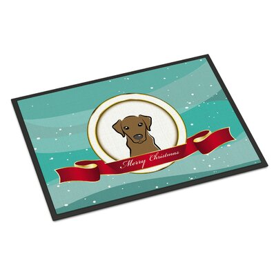 Labrador Merry Christmas Doormat Rug Size: 2 x 3, Color: Chocolate