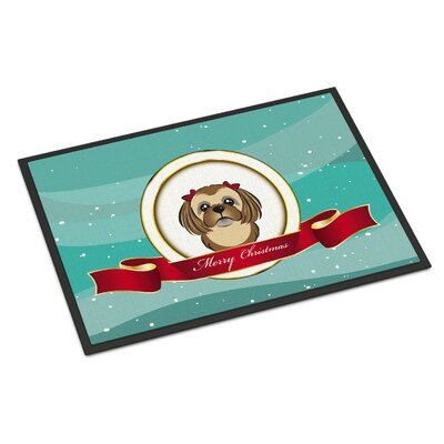 Shih Tzu Merry Christmas Doormat Rug Size: 2 x 3, Color: Gray Silver