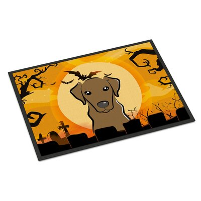 Halloween Labrador Doormat Mat Size: 2 x 3, Color: Chocolate