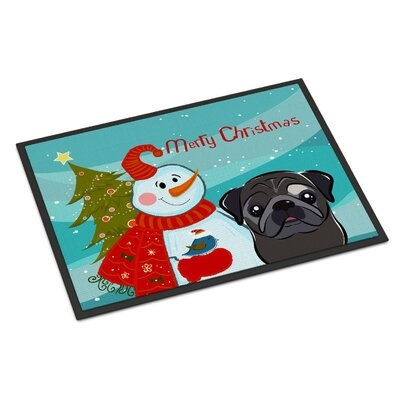 Snowman Pug Doormat Mat Size: 16 x 23, Color: Black