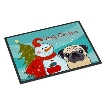 Snowman Pug Doormat Rug Size: 16 x 23, Color: Fawn