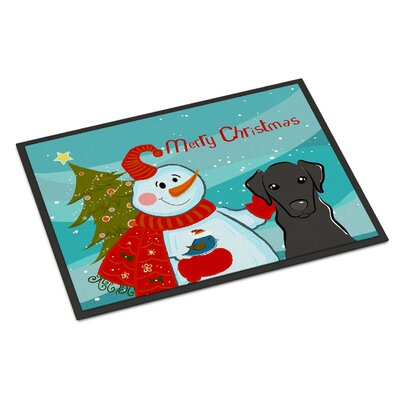 Snowman with Labrador Doormat Rug Size: 2 x 3, Color: Black
