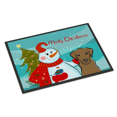 Snowman with Labrador Doormat Rug Size: 16 x 23, Color: Chocolate