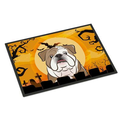 Halloween English Bulldog Doormat Rug Size: 2 x 3, Color: Brown